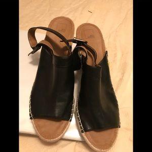 Black wedge leather like sandals